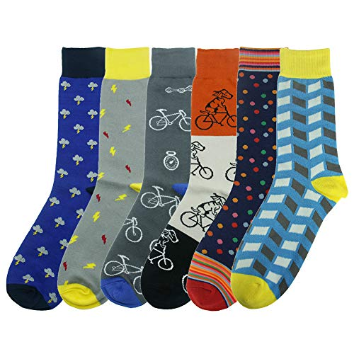 Crew Dress Socks, SUTTOS Mens Boys Ultimate Crazy Cool Socks Colorful Patterned Dress Cartoon Socks Cotton Blend Soft Warm Winter Socks Mid Calf Crew Casual Socks, 6 Pairs