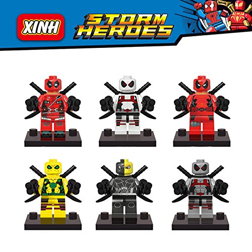 6Pcs Deadpool Minifigures Marvel Super Hero Avengers Building Blocks Sets Bricks Kids Toys Decool Lepin Compatible