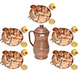 Prisha India Craft Set of 5 Indian Dinnerware Pure Copper Thali Set Traditional Dinner Set of Thali Plate Dia 12'', Bowl, Spoon, Fork, Glass and JUG - Christmas Gift