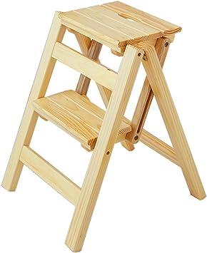 ACZZ Escaleras de tijera Taburete plegable de madera para niños Adultos Cocina Escaleras pequeñas Escalera multifunción/escalera Escalera con 2 pasos para la biblioteca en casa Pasos plegables,Natu: Amazon.es: Bricolaje y herramientas