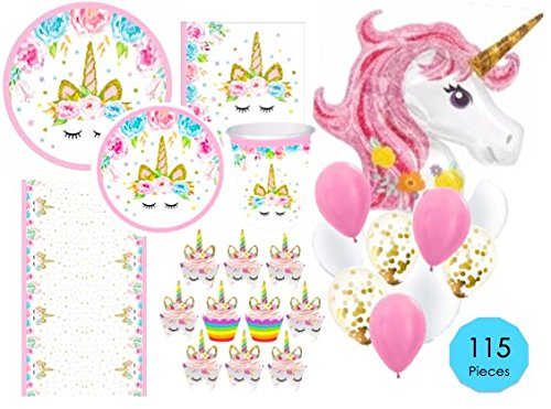 (Unicorn Party Supplies Set - 115pc Decorations Bundle - Tableware for 16 (Plates Napkins Cups Tablecloth) Cupcake Wrapper/Topper & HUGE Unicorn Balloon! Party, Shower or 1st Birthday - Love,)