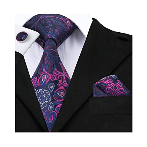 Hi-Tie Elegant Woven Silk Tie Set Blue Purple