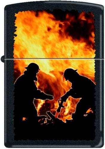- 2013N ZIPPO 218 Black Matte-Firemen Silhouettes
