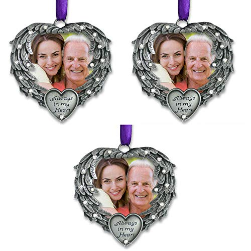 (BANBERRY DESIGNS in Memory Photo Ornament - Always in My Heart - Angel Wings Picture Christmas Ornament with a Remembrance Saying on The Card - Sympathy Gifts - Bereavement Gifts -)