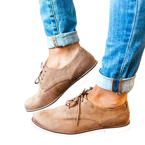 Women Vintage Lace up Flock Single Shoes Classic Flat Shoes by Lowprofile Brown - Granny Combat Boots