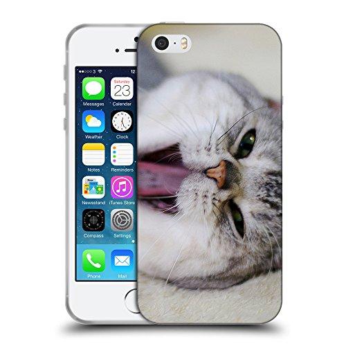 Just Phone Cases Coque de Protection TPU Silicone Case pour // V00004310 Eveillez bâillements de chat // Apple iPhone 5 5S 5G SE