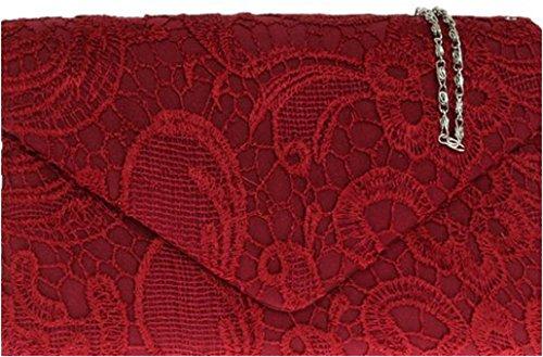 Ladies Satin Lace Clutch Bag Shoulder Chain Elegant Wedding Evening Womens - Burgundy Burgundy