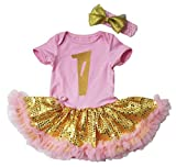 Easter Baby Dress 1st Pink Bodysuit Gold Sequin Tutu NB-18m (0-3 Months)
