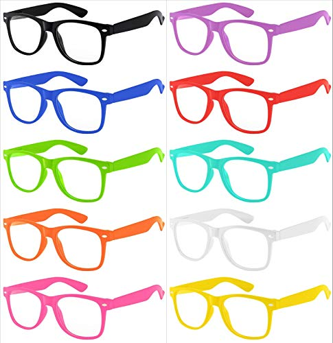 Wholesale Girls Fashion - Wholesale 10 Pack Classic Vintage Clear Lens Sunglasses Colored Frame