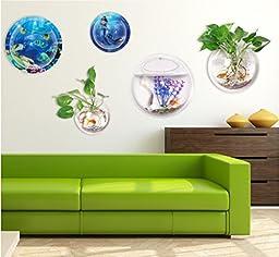 Yooyoo Creative Acrylic Hanging Wall Mount Fish Tank Bowl Vase Aquarium Plant Pot Bowl Bubble Aquarium Decor