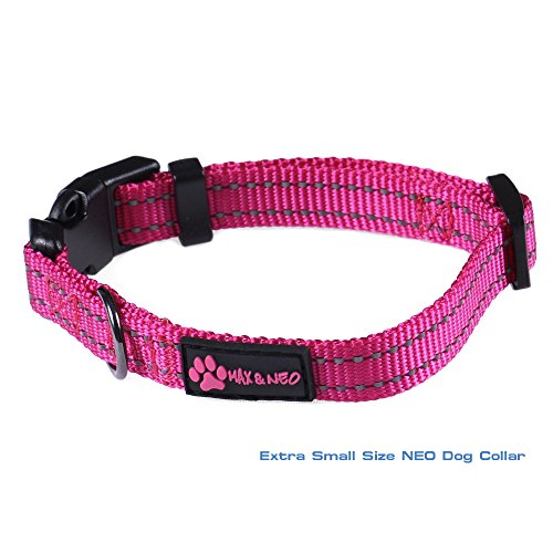 Max and Neo&Trade; NEO Nylon Buckle Reflective Dog Collar - We Donate a Collar to a Dog Rescue for Every Collar Sold (X-Small, Pink)