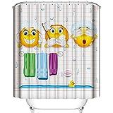 "A&S Creavention Emoji Theme Design Shower Curtain 70""x70"", 1pc"