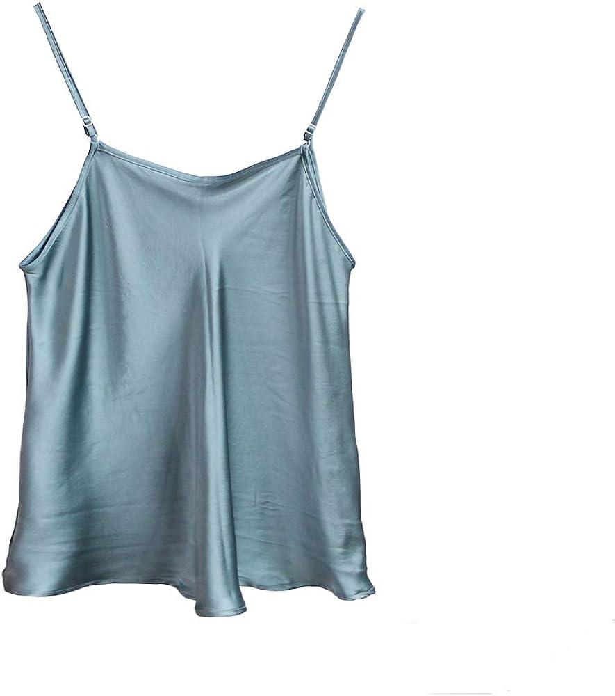 SIXIULIYU Canotta di seta con cinturino regolabile 100/% seta di gelso donne gilet uscire top