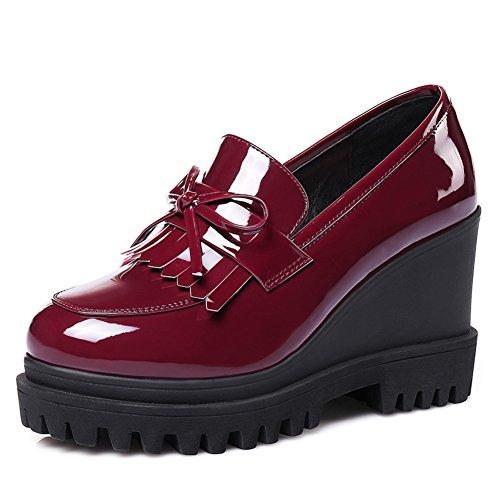charol tacones Estilo Tacón Gruesos Casuales Mujeres Mujer Alto Británico Negros zapatos B Las Zapatos De nRW0xUxI
