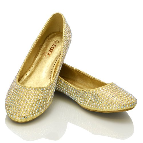 4 DIAMANTE 3 SPARKLY NEW GLITTER FLATS BRIDESMAID 5 BALLERINA WOMENS Gold BRIDAL SIZE 7 6 8 PUMPS Glitter LADIES SHOES g7C5wxpOq5
