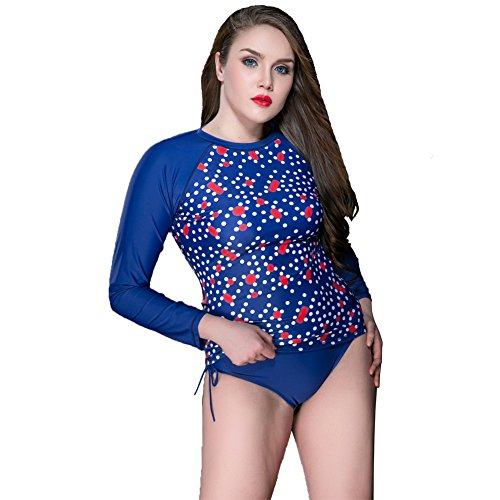 Large Size Summer Swimming Lady Wetsuit Long Sleeve New Style Single Diving Swimsuit (Blue, - Triathlon Suits Near Me