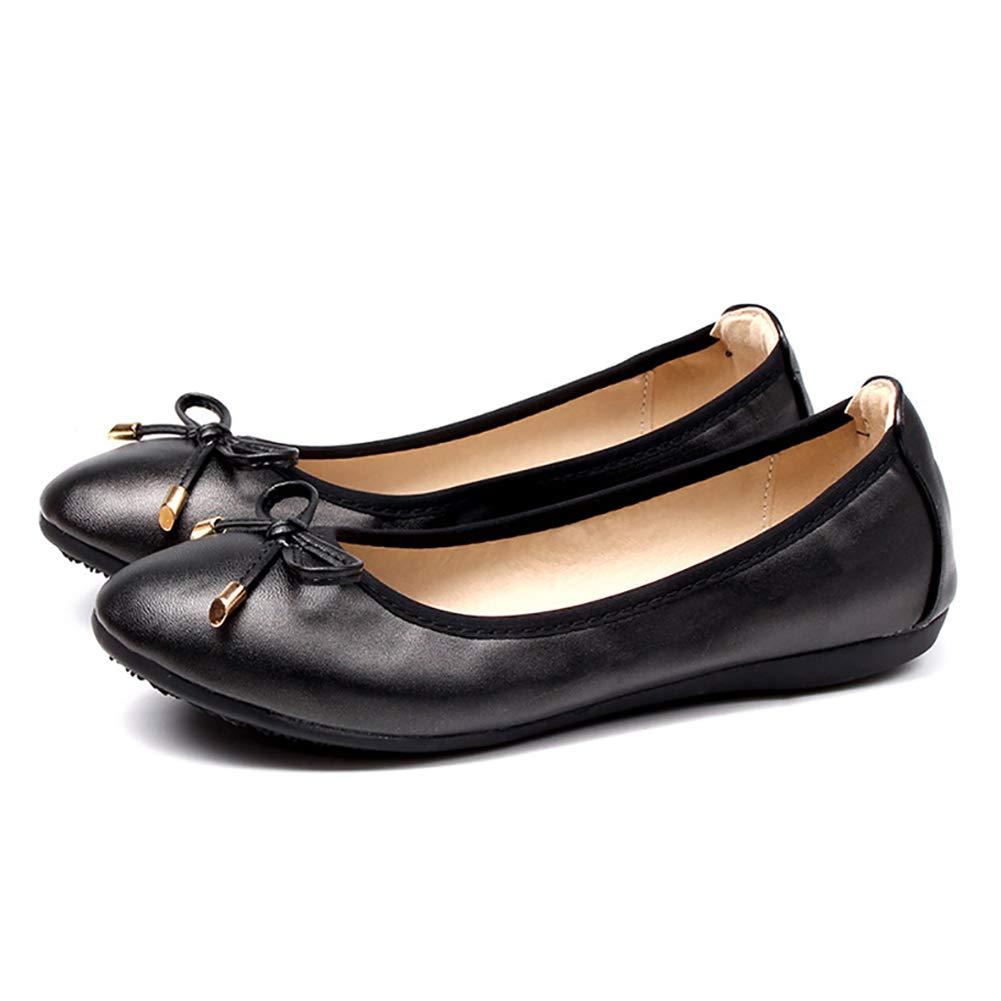 52c8fcabc5a V-DOTE Women Ballet Flats Foldable Leather Closed Toe Slip On Flat ...