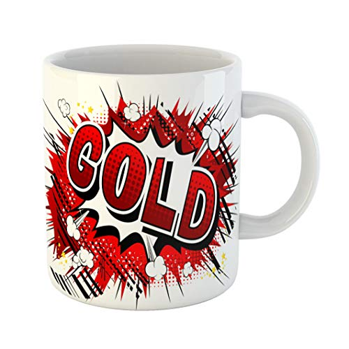 ffee Mug Action Gold Comic Book Phrase Alloy Blast Bomb Brass Bubble White Ceramic Glossy Tea Cup With Large C-handle ()