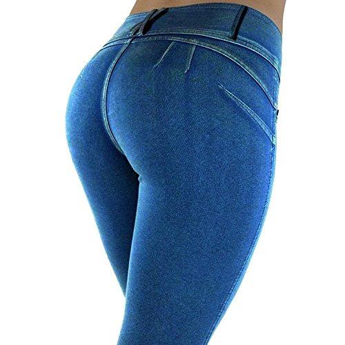 Femmes Maigre Fille Pantalons Loisirs De Bleu Slim Pantalon Style Confortable Couleur Mode Élégant Pure La Fête Long Crayon Décontracté Denim qtrtAFTx