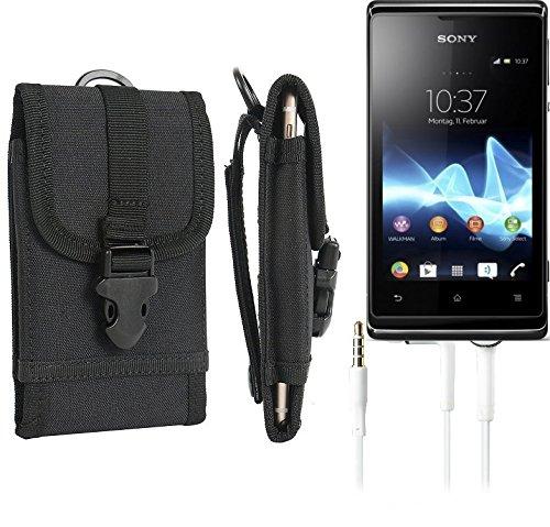 bolsa del cinturón / funda para Sony Xperia E, negro + Auriculares   caja del teléfono cubierta protectora bolso - K-S-Trade (TM)