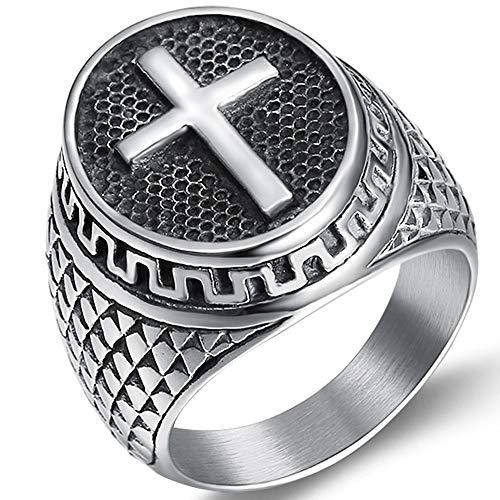 Fashion Religious Cross Ring (Jude Jewelers Retro Vintage Stainless Steel Chrisitan Cross Religious Ring (Grey, 12))