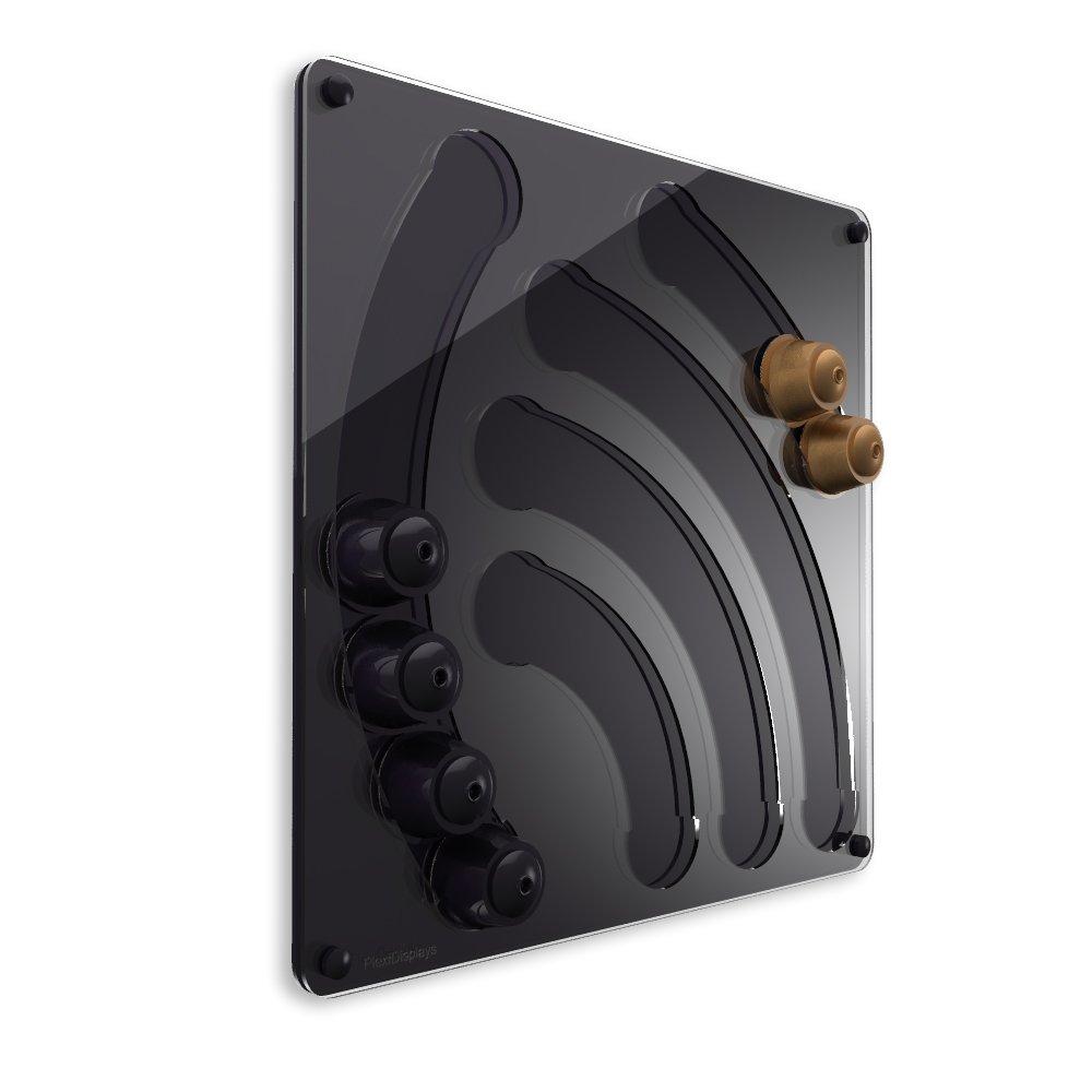PlexiDisplays 2011.04.002 - Porta capsule da parete per Nespresso Dolce Gusto, motivo: cascate, colore: nero, dimensioni: 41 x 40 cm