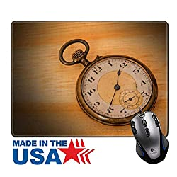 """MSD Natural Rubber Mouse Pad/Mat with Stitched Edges 9.8"""" x 7.9"""" old clock vintage on wood background Image ID 27188593"""