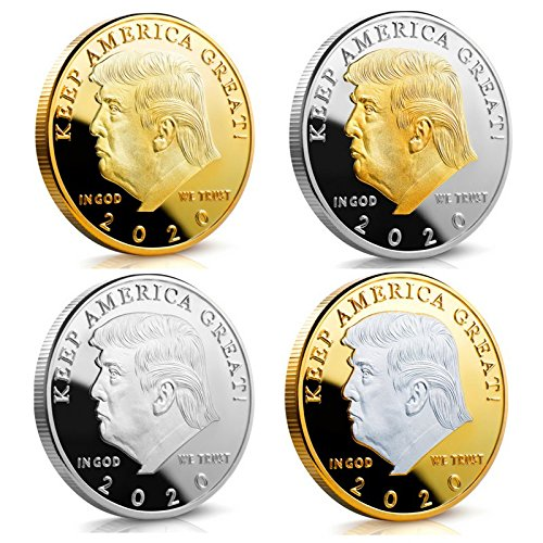 Commander Challenge Coin - Keep America Great Challenge Coin - Donald Trump 2020 Gold and Silver Plated 4 Coin Set in the Commemorative Collectors Edition Series - Stunning Proof Like Coins