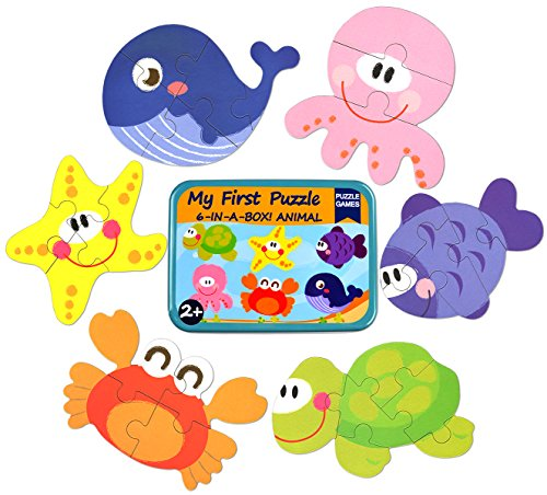(Vileafy 6-in-1 Floor Puzzles for Kids Wooden Puzzles for 2+ Years Toddlers (Sea Animals))