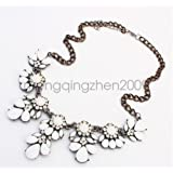 White - Women Bohemia style Statement Bib Pendant Flower Choker Chunky Necklace Jewelry