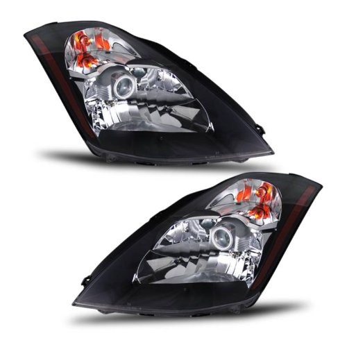 SPPC Headlights Black Assembly Set for Nissan 350Z - (Pair) Driver Left and Passenger Right Side Replacement Headlamp