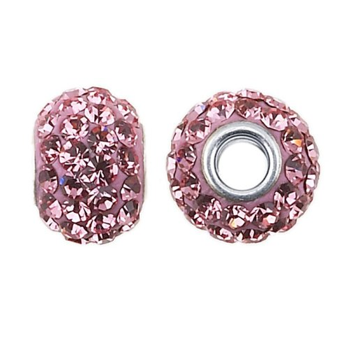 Frolic Sterling Silver 8mm Roundel Bead with Light Rose Crystals (Crystal Roundels Light)