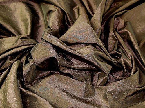 Crushed Textured Shot Taffeta Dress Fabric Chocolate Brown - per metre
