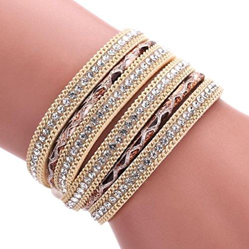 Welcomeuni Unsixe Bohemian Bracelet Wrap Cuff Magnetic Clasp Leather Bangle (Costumes Bangles)