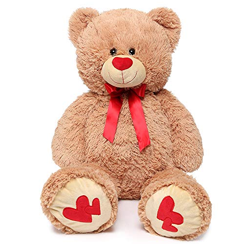 MaoGoLan Giant Teddy Bear Large Stuffed Animals Plush Big Bear with Love Heart for Girlfriend Children Christmas Valentines Day 35 Inch, Light Brown ()