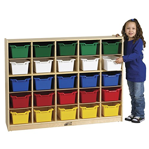ECR4Kids Birch 25 Cubby Tray Cabinet with Scoop Front Assorted Color - Trays Assorted Twenty