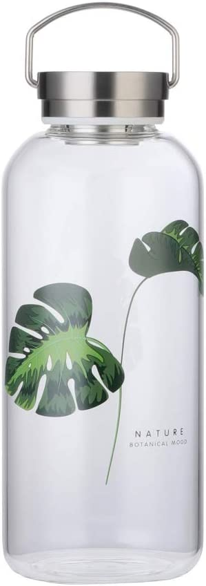 Botella Agua Cristal 1,5 Litros Reutilizable con Portátil Tapa Inox Funda Neopreno sin Bpa