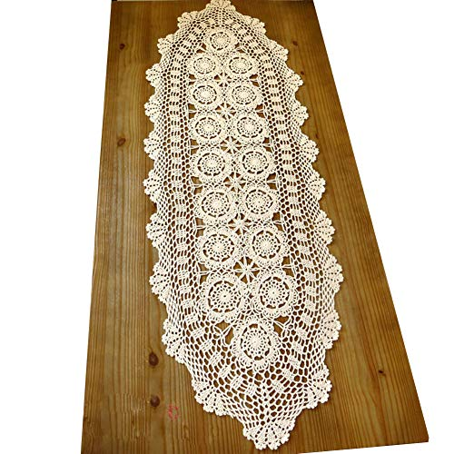 Holy Tablecloth - HOLY HOME Handmade Crochet Tablecloth Pastoral Lace Cotton Table Runner (Beige, 16