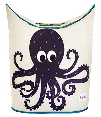 3 Sprouts Baby Storage Basket Organizer Bin Laundry Hamper for Nursery Clothes, Purple Octopus