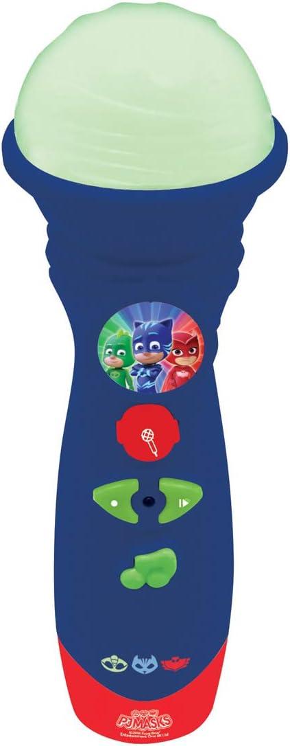 Pj Mask, MIC50PJM PJ Masks-Micrófono De Juguete Luminoso, Azul, Color Lexibook
