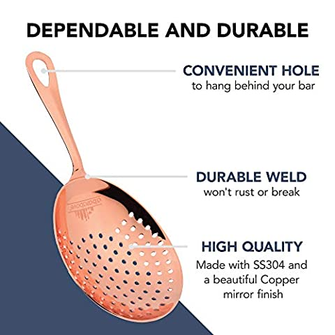 Copper-Coated Julep Strainer – Easy to Hold Drink Strainer – Use with Cocktail Shakers, Mixing Glasses and Pint Glasses…
