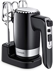 SHARDOR Hand Mixer Powerful 300W Ultra Power Electric Hand Mixer with Turbo for Whipping Mixing Cookies, Brownies, Cakes, Dough Batters