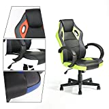 Green Forest Executive Racing Car Style Video Game Chair, Ergonomic Adjustable Swivel Armrest PU Leather Seat High Back For Home Office Desk, Green