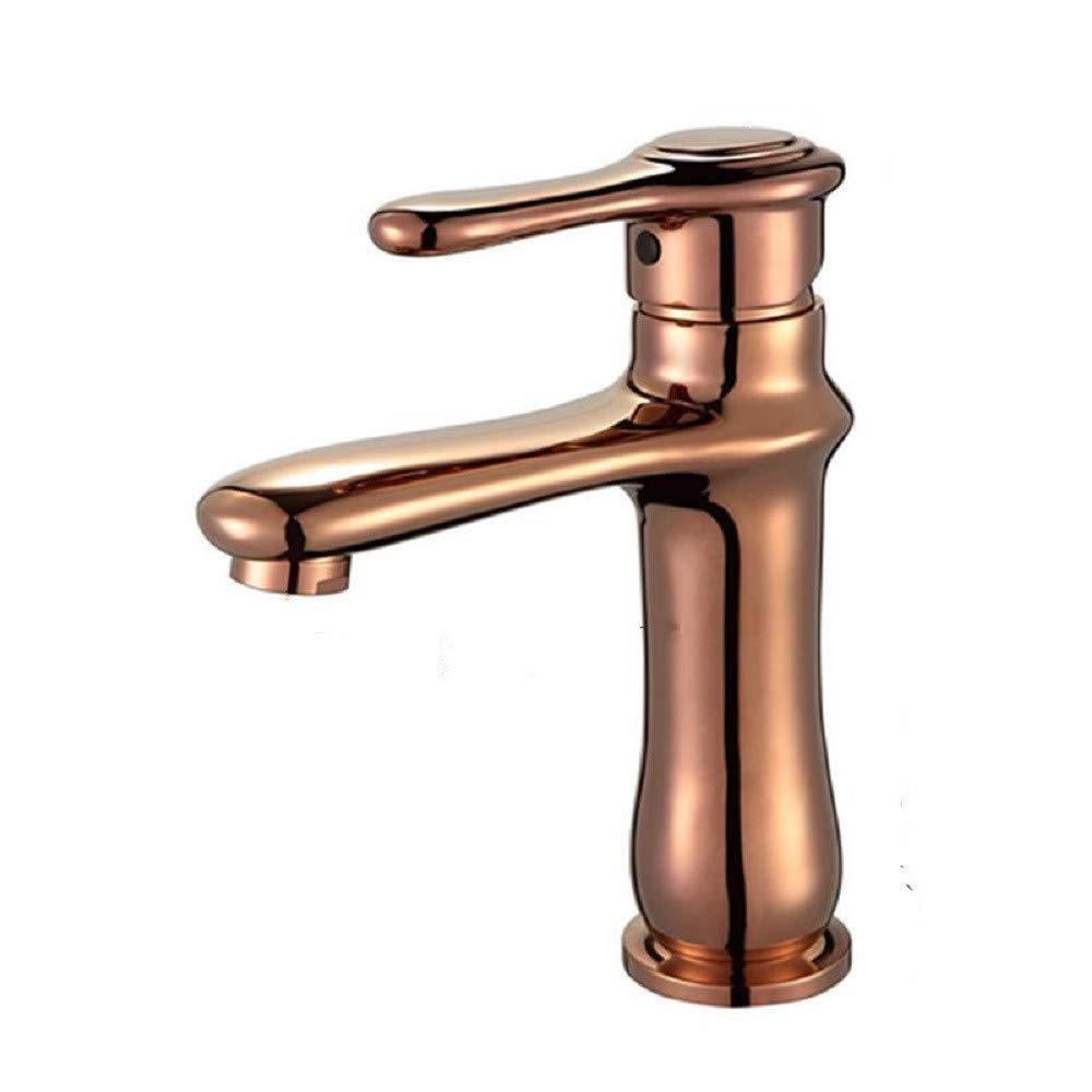 Wasserhahn bad Waschtischarmatur Antiken Einzigen Loch Becken Einheitliche Europäische Loch Waschbecken Rosa Gold Kalt - Heiß Tabelle Becken Wasserhahn