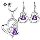Generic Co_ 925 Silver love _eternal_ love _Muran_ heart necklace Pendant _with_ earrings classic _piece_to_send_his_ girlfriend