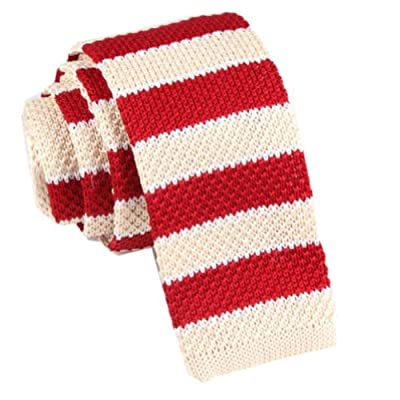 D.berite Red Beige Striped Men's Wedding Slim Skinny Knit Knitted Tie Neckties