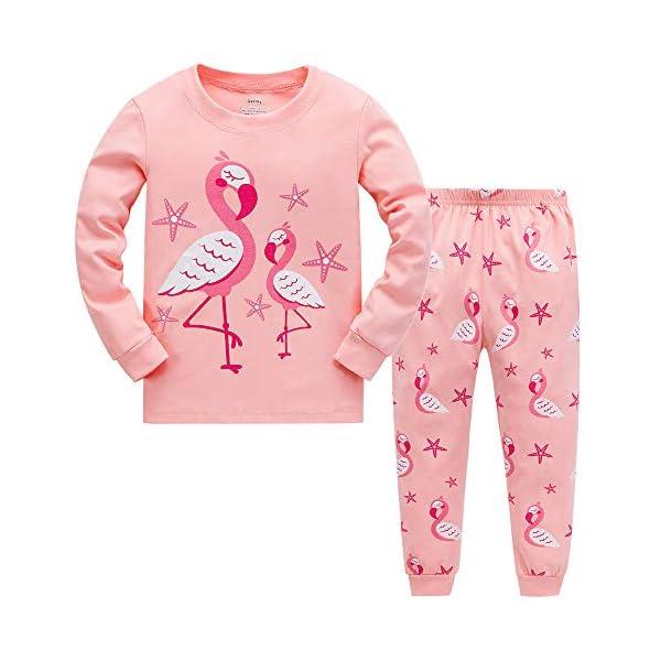 "Tkiames Bambine ""Giraffa"" 2 pezzi Pigiama a maniche lunghe per ragazze Pajama Set 100% cotone 1"