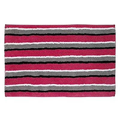 "Avanti Linens 13824JMUL Chloe Bath Rug, Medium, Multicolor - ATTENTION TO DETAIL - Sink your toes into the luxuriously soft Avanti Chloe Striped Bath Rug. As part of a bathroom set, this rug creates an elegant, fun atmosphere. Chloe white is a playful embroidered design featuring a woman returning from a successful shopping trip accompanied by her four dogs. Thanks to its non-skid latex backing, this bath mat stays firmly on the floor, even when wet. PERFECT SIZE - The Avanti Chloe Striped Bath Rug measures a convenient 20"" by 30"". This rug and can be placed alongside the shower or near the sink to keep the bathroom floor dry, keep feet warm, and to prevent slipping. Its medium size and rectangular shape make it suitable for standing on at the kitchen counter or sink, or leaving shoes on in the entryway. EASY TO CLEAN - Thanks to its tufted cotton and latex backing, Avanti's bath mats are easy to clean! Simply machine wash on cold using the gentle cycle. Either tumble dry on low, or air dry to maintain the integrity of the rug's construction. Use non-chlorine bleach if needed. - bathroom-linens, bathroom, bath-mats - 51ecEytbuBL. SS400  -"