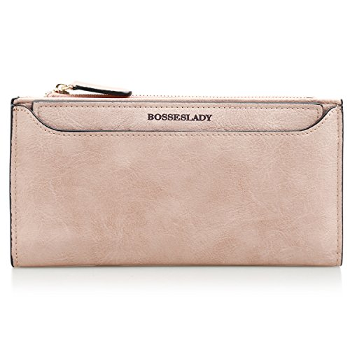 KQueenStar Women Slim Wallet Long Card Holder Case Wallet (Light Pink) Bill Holder Wallet