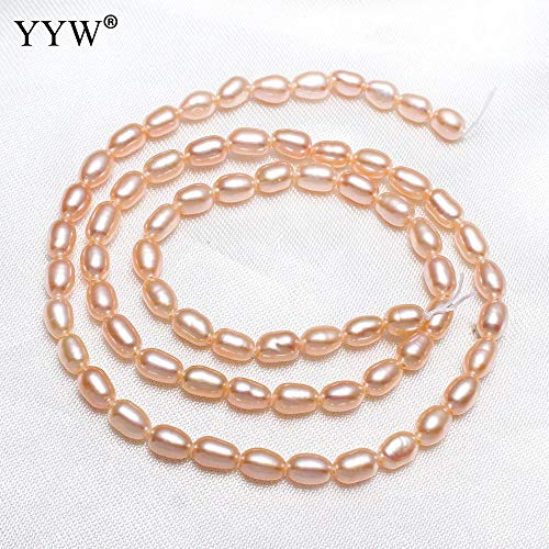 Calvas 3-4mm Pink Rice Cultured Baroque Freshwater Pearl Natural Stone Beads for Bracelets Necklace DIY Gifts Jewelry Making 15.7""